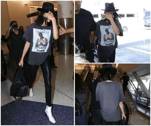 Kendall Jenner 现身洛杉矶机场 黑T+皮裤一如既往的帅