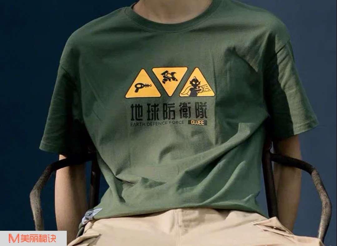 夏季男生T恤搭配最时尚个性印花T恤