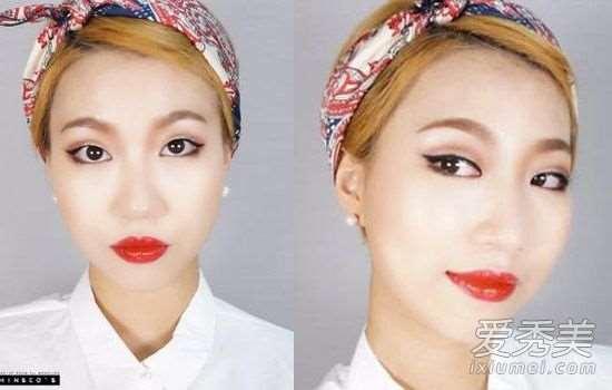 单眼皮化妆:不贴双眼皮贴复古眼妆教程