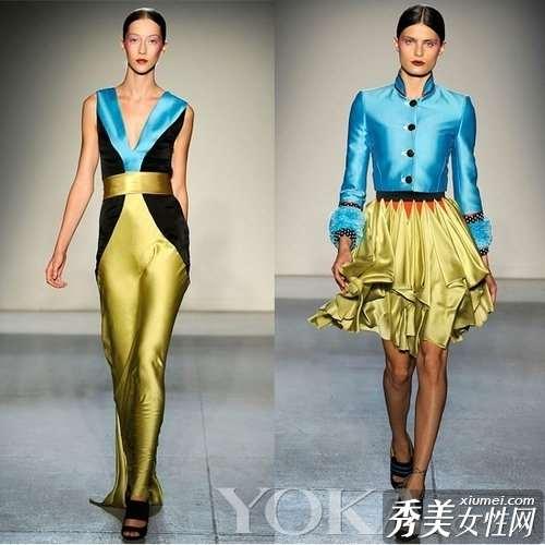 2011春夏高级成衣发布会 黄蓝撞色领潮流