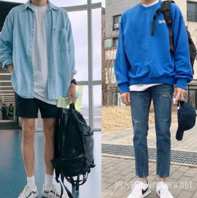 蓝色的衬衫配上洁白的T恤与黑色短裤