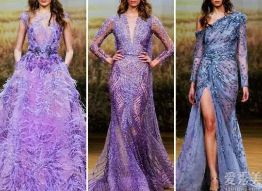 ZiadNakad绚丽多彩高定礼服,紫色系羽毛太震撼人心!每一件都是重工机械打造