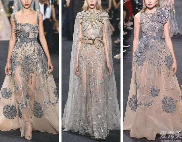 ElieSaab2016高定礼服:绮丽丝绒布料结合薄纱,立体刺绣海鸟
