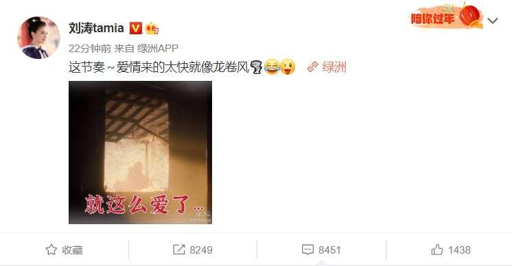 刘涛深夜发文:爱情来的太快就像龙卷风,配图有深意,就这么爱了?_明星新闻